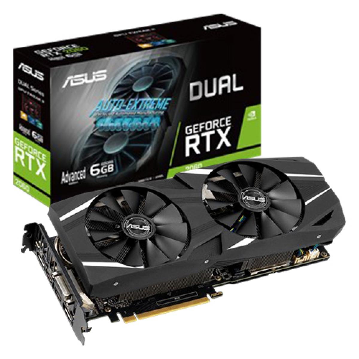 Placa de Vídeo Asus, Geforce, RTX 2060 Dual Advanced edition, 6GB, GDDR6, 192Bit, DUAL-RTX2060-A6G