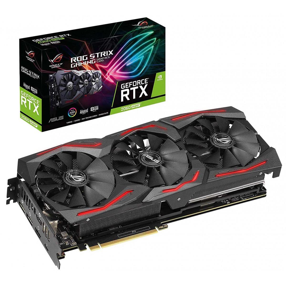 Placa de Vídeo Asus, GeForce, RTX 2060 Super Rog Strix Gaming, 8GB, GDDR6, 256Bit, ROG-STRIX-RTX2060S-A8G-GAMING