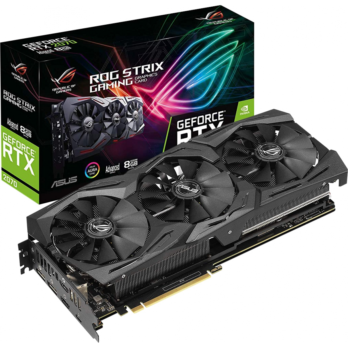 Placa de Vídeo Asus, Geforce, RTX 2070 Advanced, 8GB, GDDR6, 256Bit, ROG-STRIX-RTX2070-A8G-GAMING