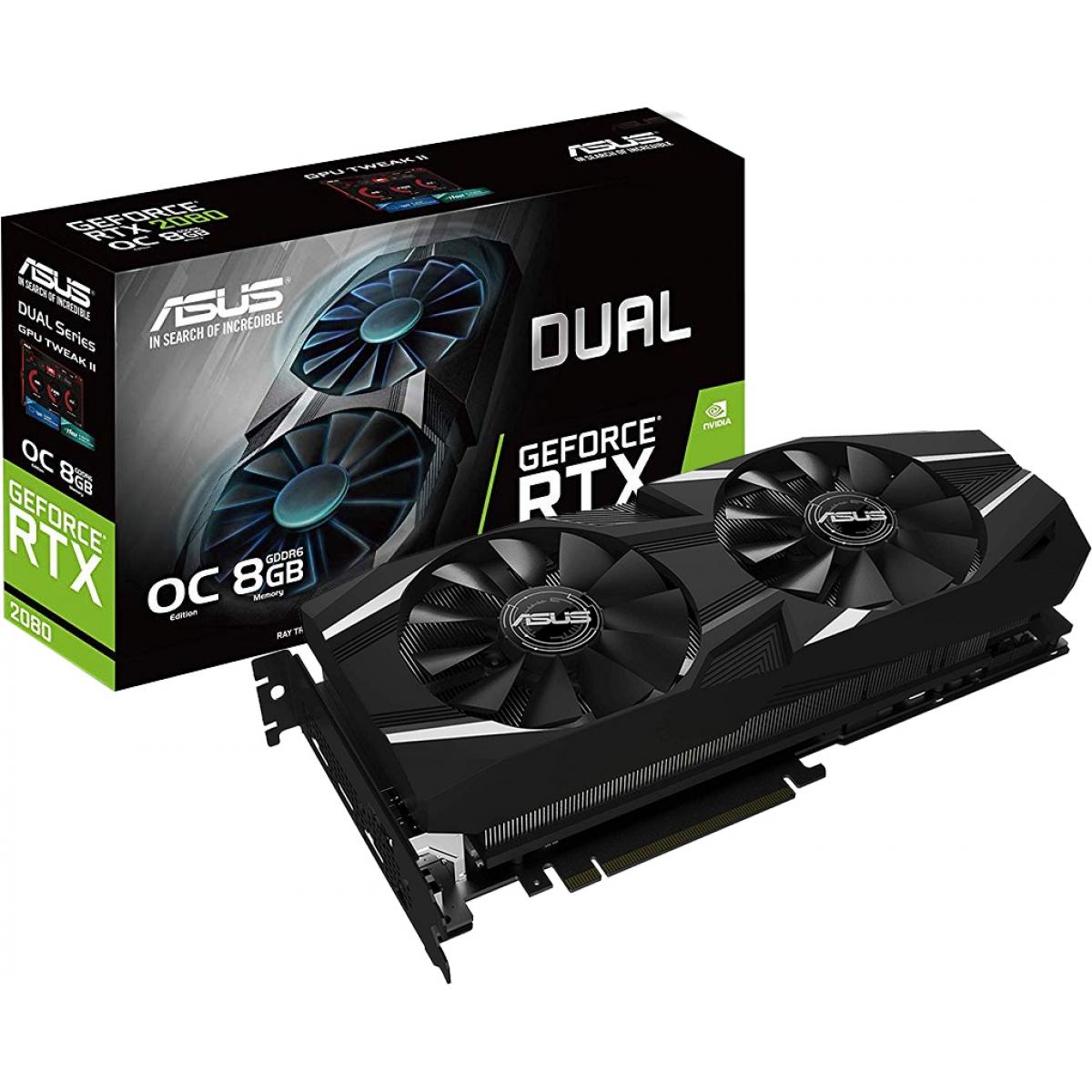 Placa de Vídeo Asus, Geforce, RTX 2080 OC, Dual, 8GB, GDDR6, 256Bit, DUAL-RTX2080-O8G