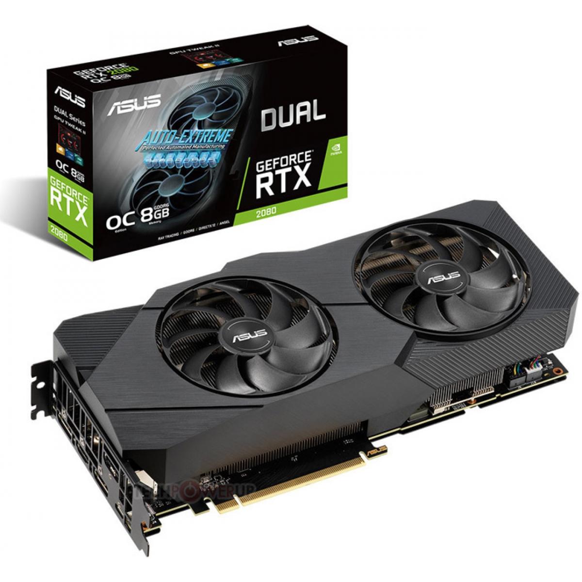 Placa de Vídeo Asus, Geforce, RTX 2080 EVO, Dual, 8GB, GDDR6, 256Bit, DUAL-RTX2080-A8G-EVO