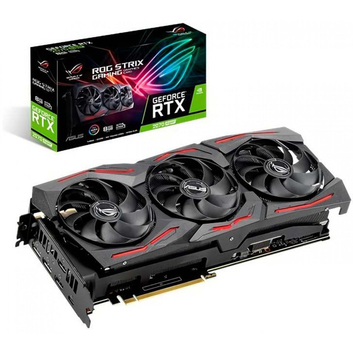 Placa de Vídeo Asus, Rog Strix GeForce, RTX 2070 Super, 8GB, GDDR6, 256Bit, ROG-STRIX-RTX2070S-8G-GAMING