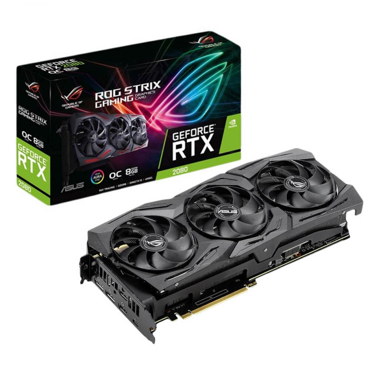 Placa de Vídeo Asus  Geforce RTX 2080 OC Rog Strix Gaming, 8GB GDDR6, 256Bit, ROG-STRIX-RTX2080-O8G-GAMING
