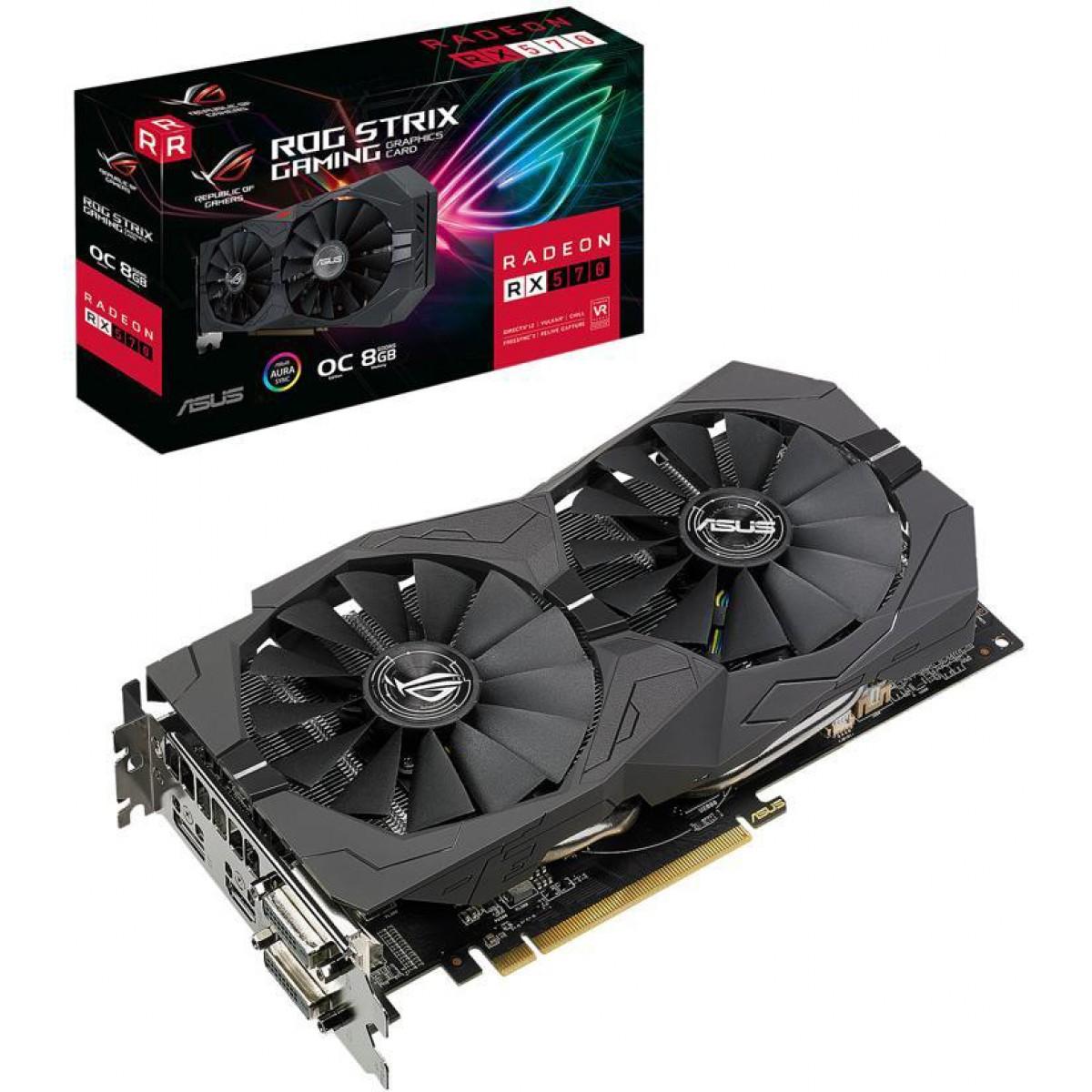 Placa de Vídeo Asus, Rog Strix Radeon, RX 570 OC, Dual, 8GB, GDDR5, 256Bit, ROG-STRIX-RX570-O8G-GAMING