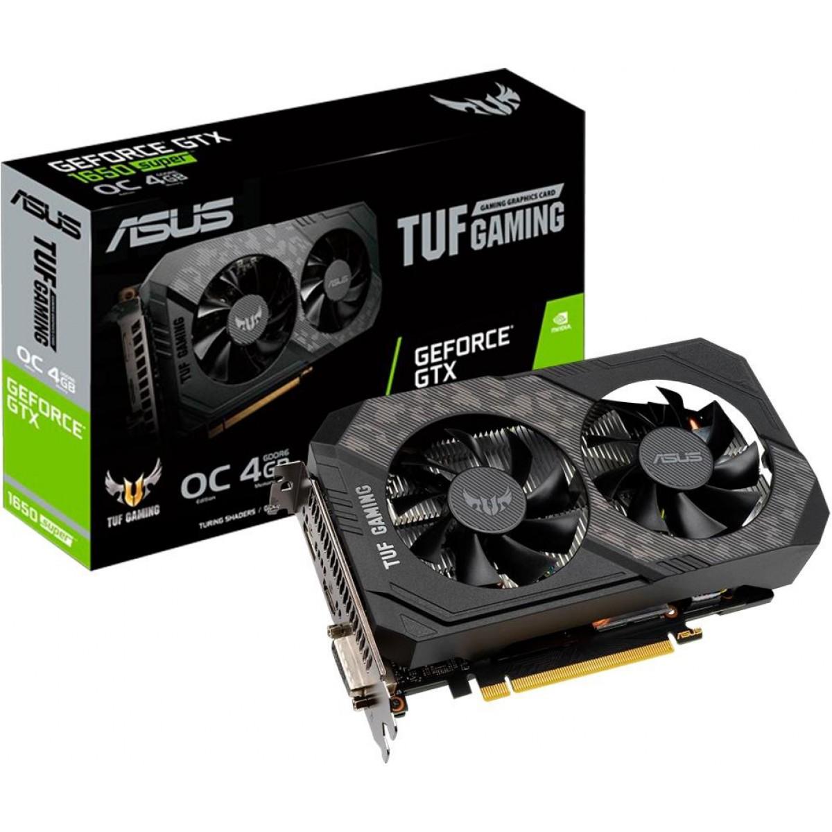 Placa de Vídeo Asus, TUF Gaming GeForce, GTX 1650 Super OC Dual, 4GB, GDDR6, 128Bit, TUF-GTX1650S-O4G-GAMING