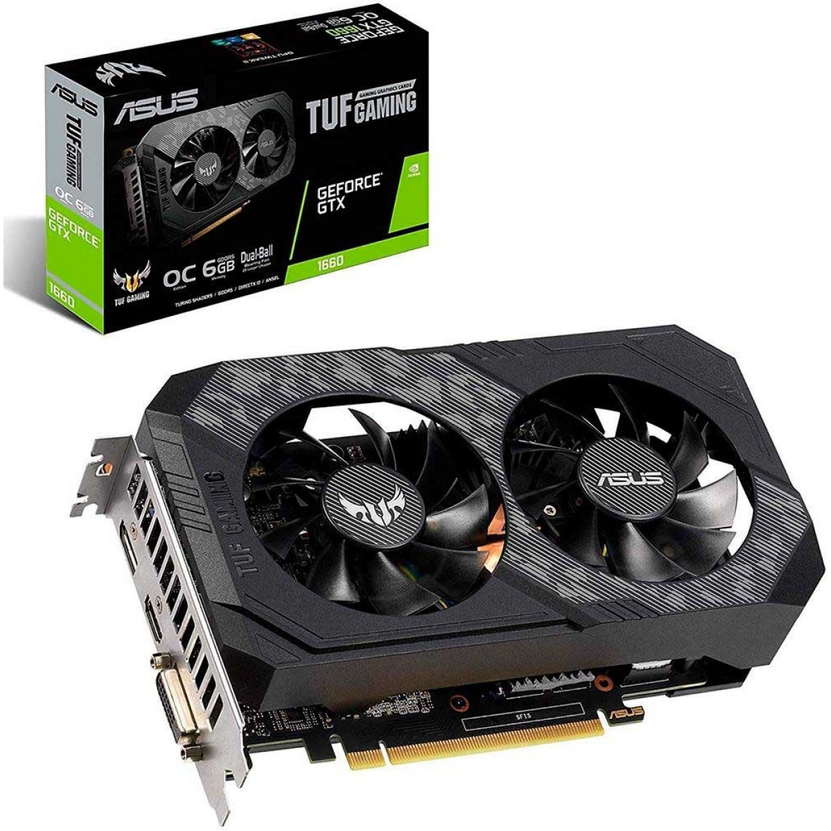 Placa de Vídeo Asus TUF GeForce GTX 1660 Dual OC, 6GB GDDR5, 192Bit, TUF-GTX1660-O6G-GAMING