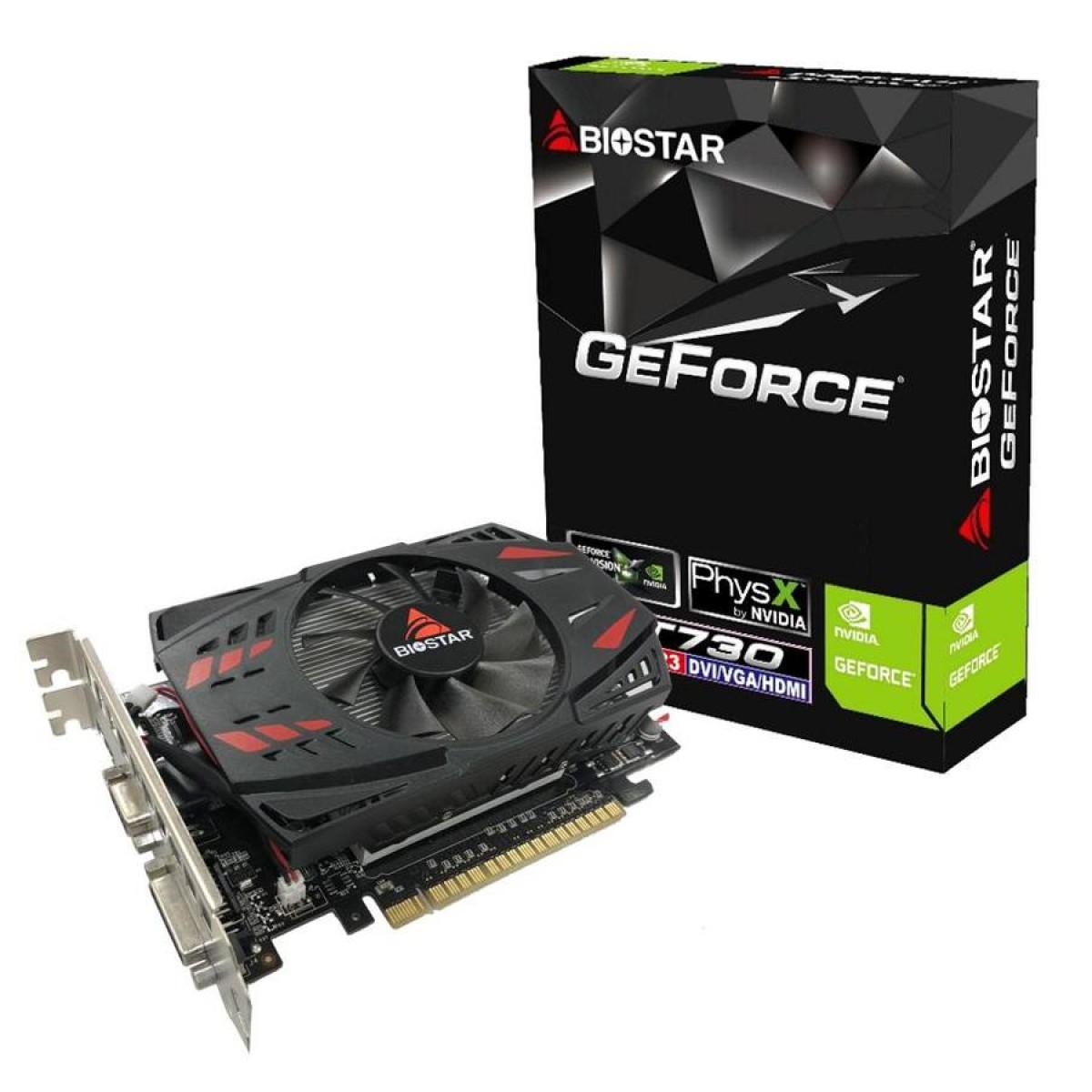 Placa de Vídeo Biostar, GeForce, GT 730, 2GB, GDDR5, 128Bit, VN7315THX1-TB1RA-BS2