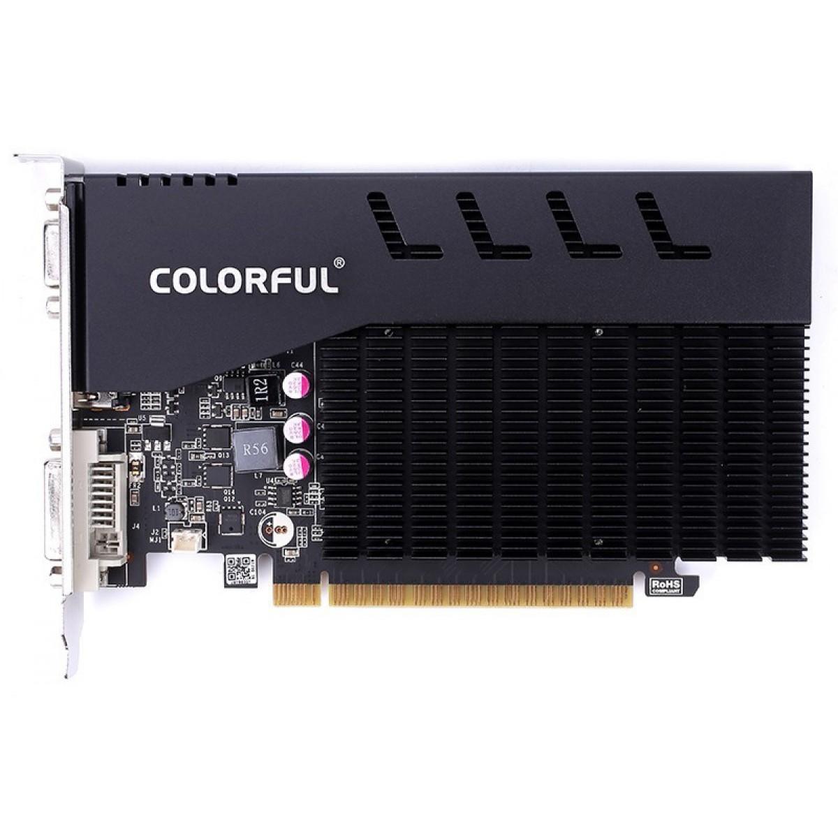 Placa de Vídeo Colorful, GeForce, GT 710 V2.0, 1GB, GDDR3, 64Bit, GT710-2GD3-V