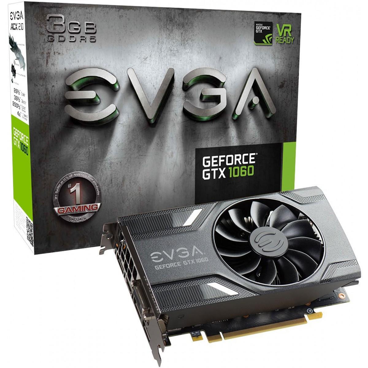 PLACA DE VIDEO EVGA GEFORCE GTX 1060 GAMING 3GB GDDR5 PCI-EXP