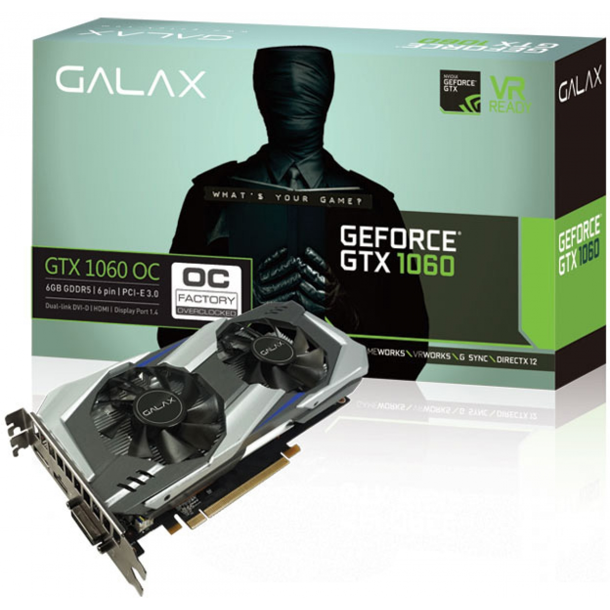 Placa de Vídeo Galax GeForce GTX 1060 OC Dual, 6GB GDDR5, 192Bit, 60NRH7DSL9OC
