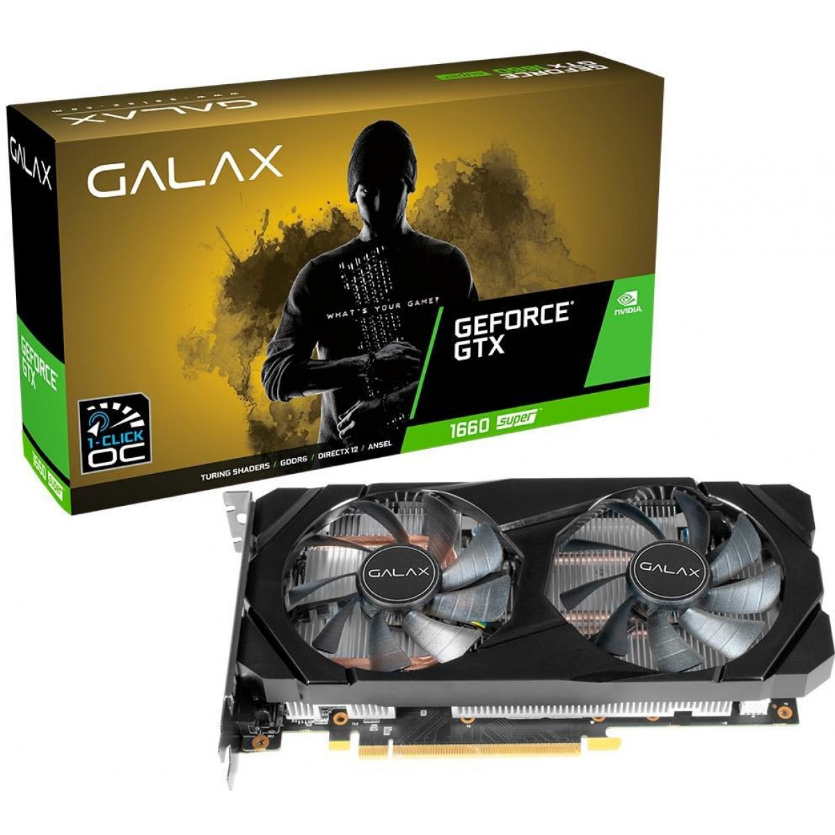 Placa de Vídeo Galax, GeForce, GTX 1660 Super Dual, 1-Click OC, 6GB, GDDR6,  192Bit, 60SRL7DSY91S