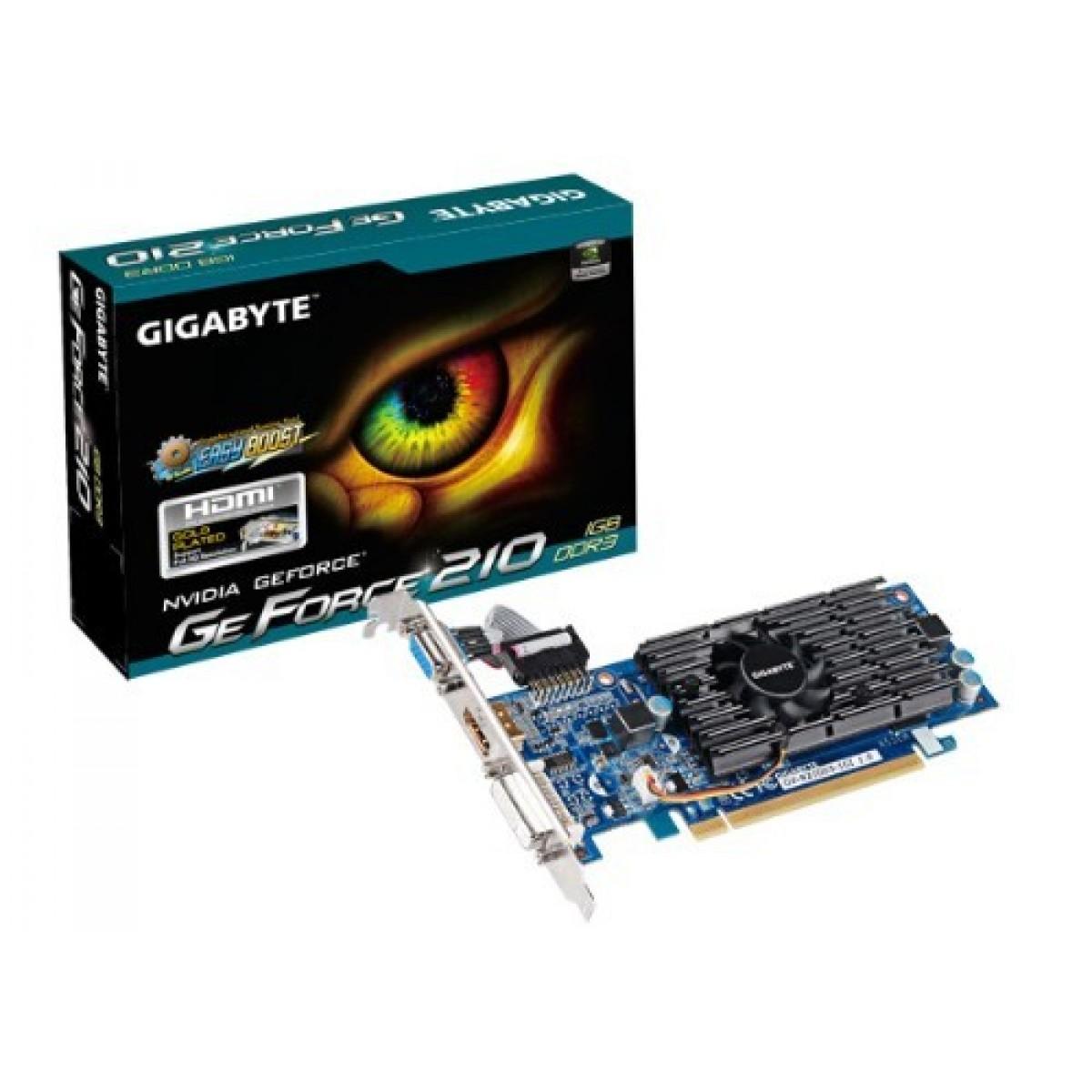 Placa de Vídeo Gigabyte GeForce 210, 1GB, DDR3, 64bit, GV-N210D3-1GI