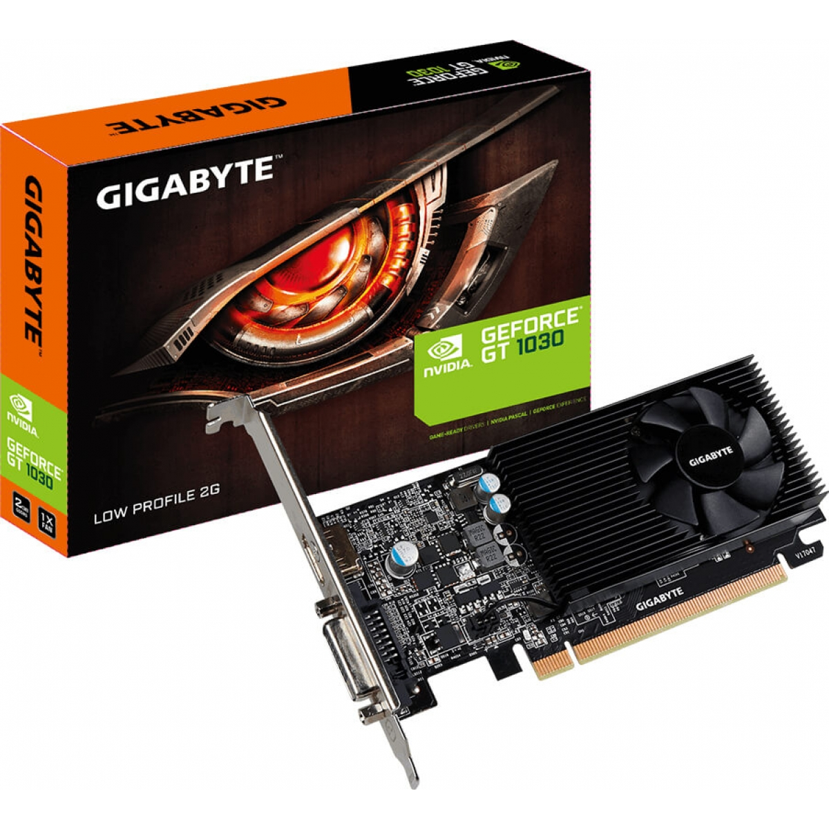Placa de Vídeo Gigabyte GeForce GT 1030 Low Profile, 2GB GDDR5, 64Bit, GV-N1030D5-2GL
