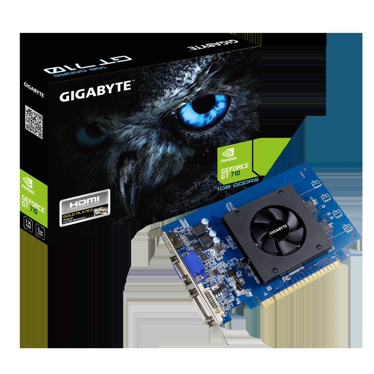 Placa de Vídeo Gigabyte GeForce GT 710, 1GB, GDDR5, 64bit, GV-N710D5-1GI