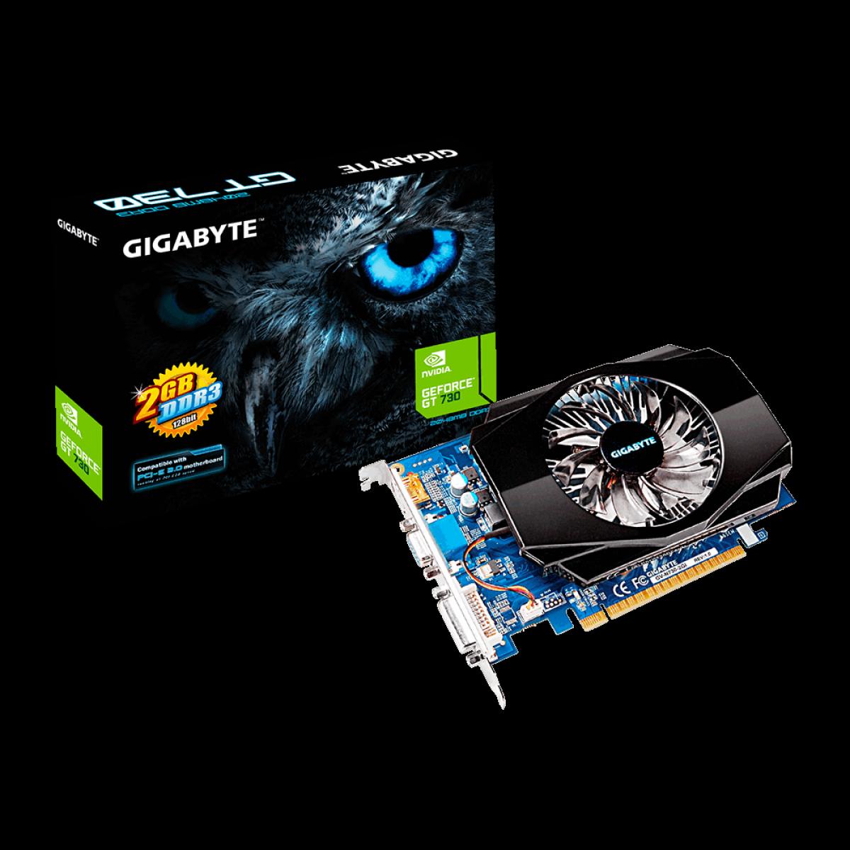 Placa de Vídeo Gigabyte GeForce GT 730, 2GB, DDR3, 128bit, GV-N730-2GI