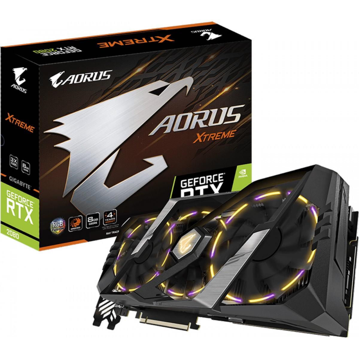 Placa De Vídeo Gigabyte Geforce RTX 2080 Xtreme, 8GB GDDR6, 256Bit, GV-N2080AORUS X-8GC