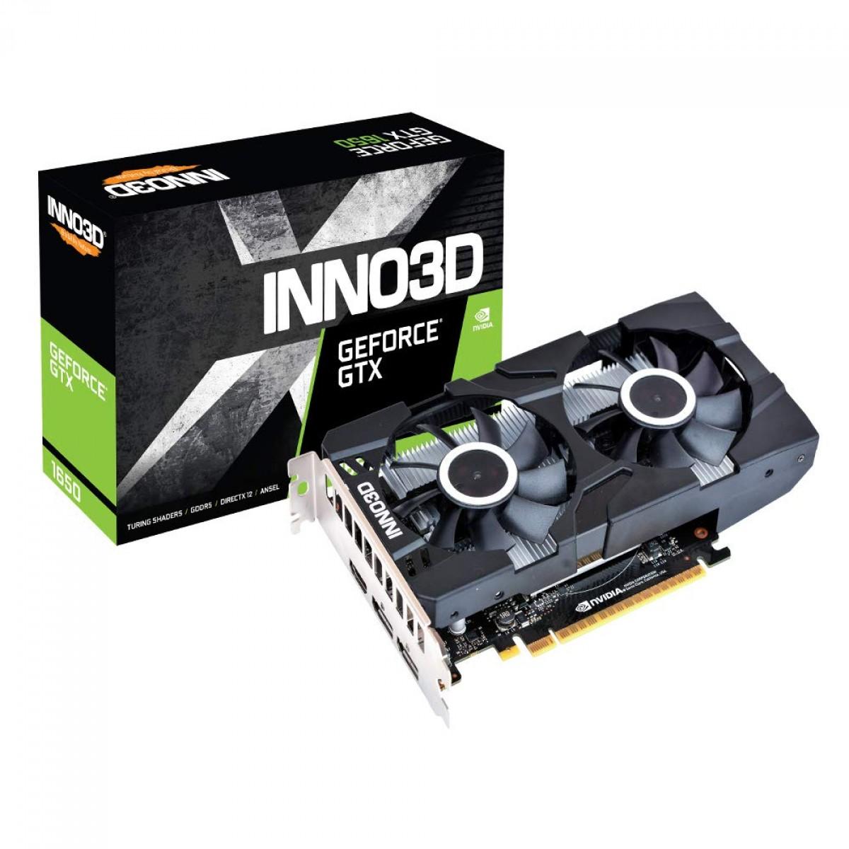 Placa de Vídeo Inno3D GeForce GTX 1650 Twin X2 OC, 4GB GDDR6, 128Bit, N16502-04D6X-1720VA30