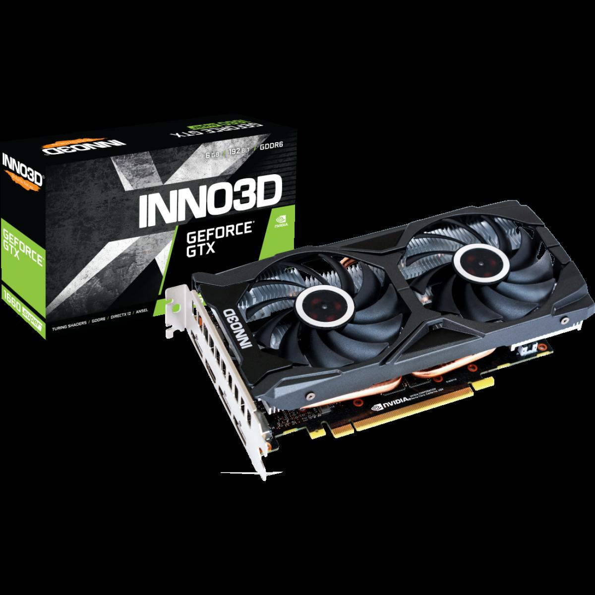 Placa de Vídeo Inno3D GeForce GTX 1660 Super Twin X2, 6GB GDDR6, 192Bit