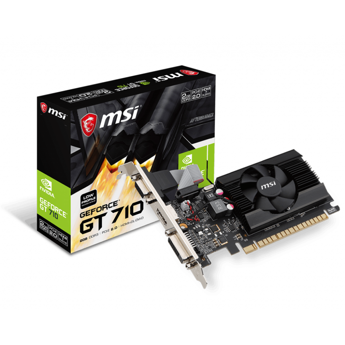 Placa de Vídeo MSI, Geforce, GT 710 2GD3 LP, 2GB, GDDR3, 64 bit, 912-V809-2024