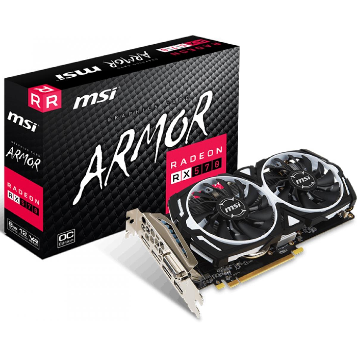 Placa de Vídeo MSI Radeon RX 570 Armor 8G OC Dual 8GB GDDR5 PCI-EXP 912-V341-236