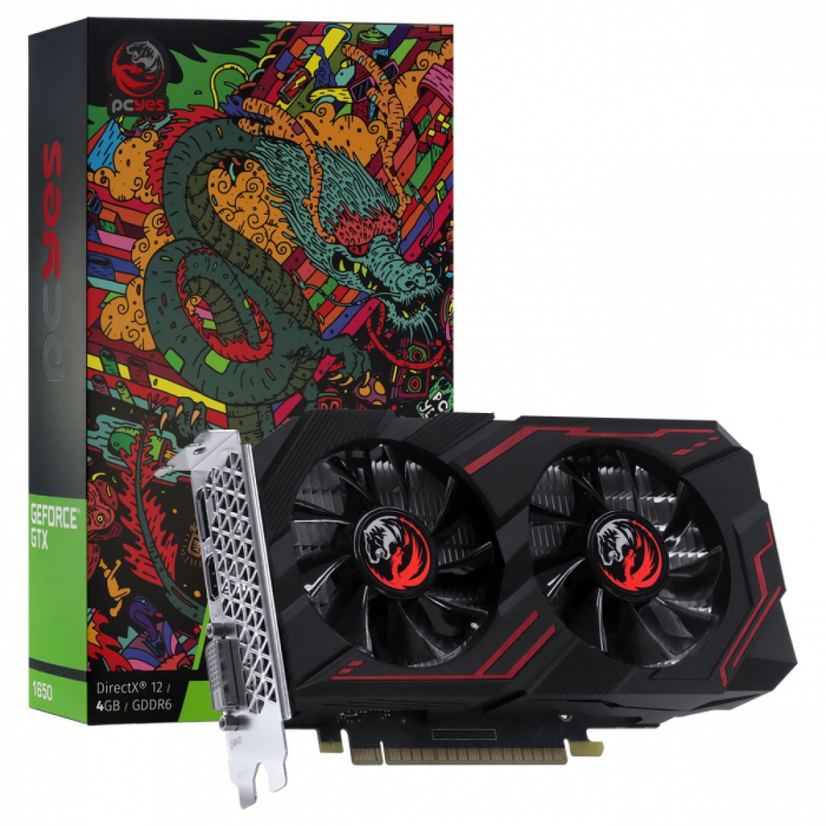 Placa de Vídeo PCYes Geforce GTX 1650 Graffiti Series, 4GB GDDR6, 128bit, PA1650412820DR6