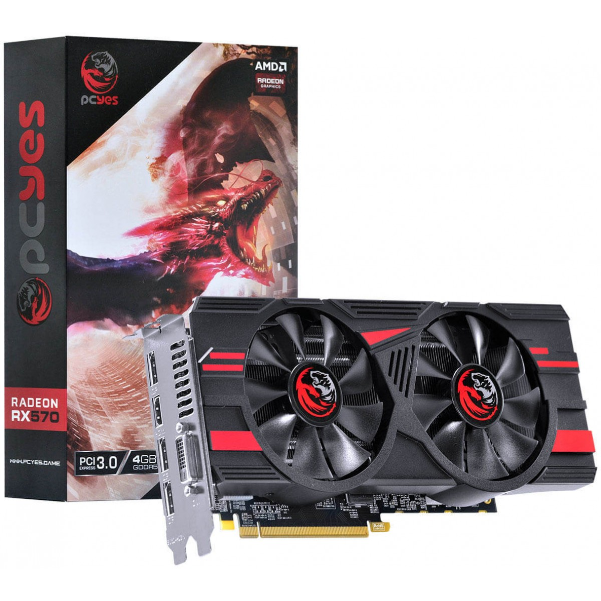 Placa de Vídeo PCyes, Radeon, RX 570, Dual, 4GB, GDDR5, 256Bit, PJ570RX256GD5
