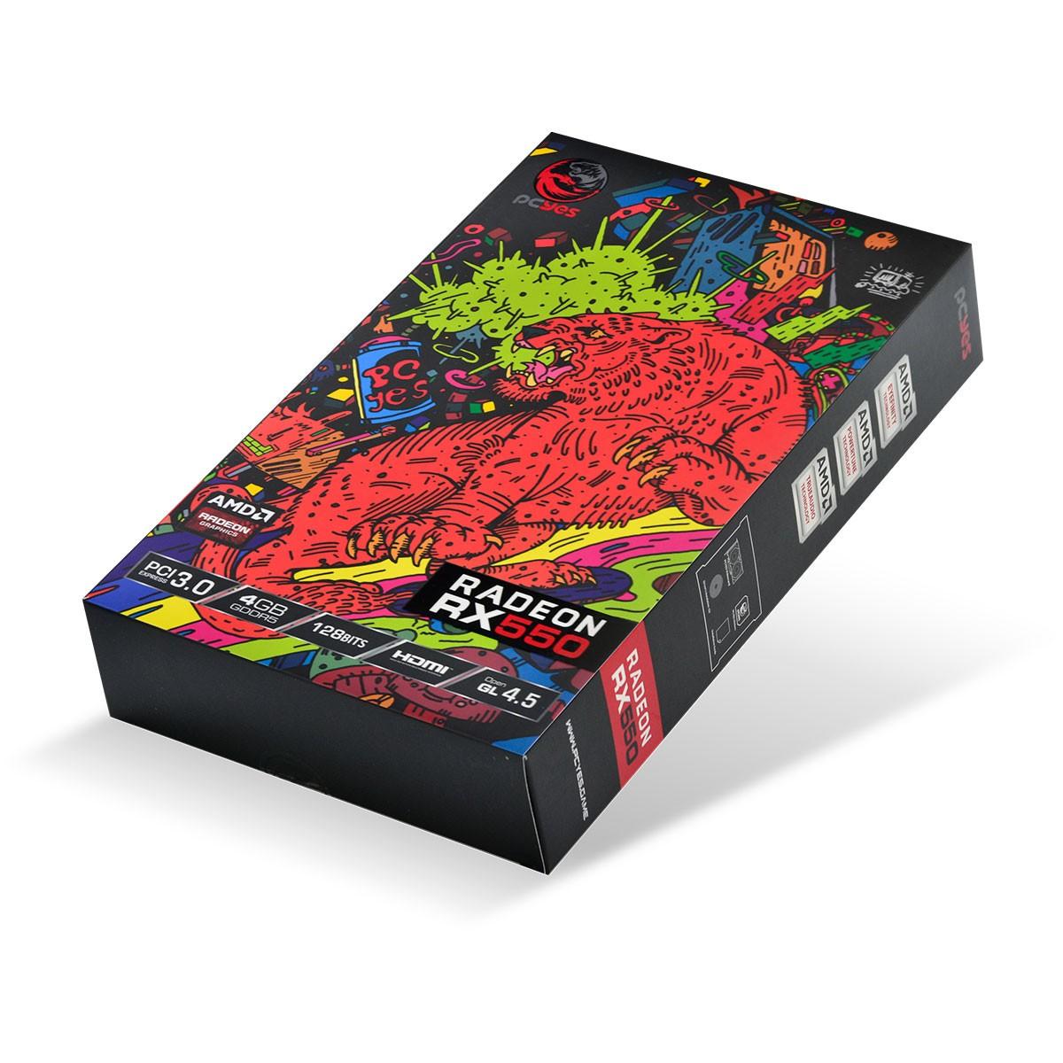 Placa de Vídeo PCYes RX 550 Graffiti Series, 4GB GDDR5, 128bit, PJRX550R5SF