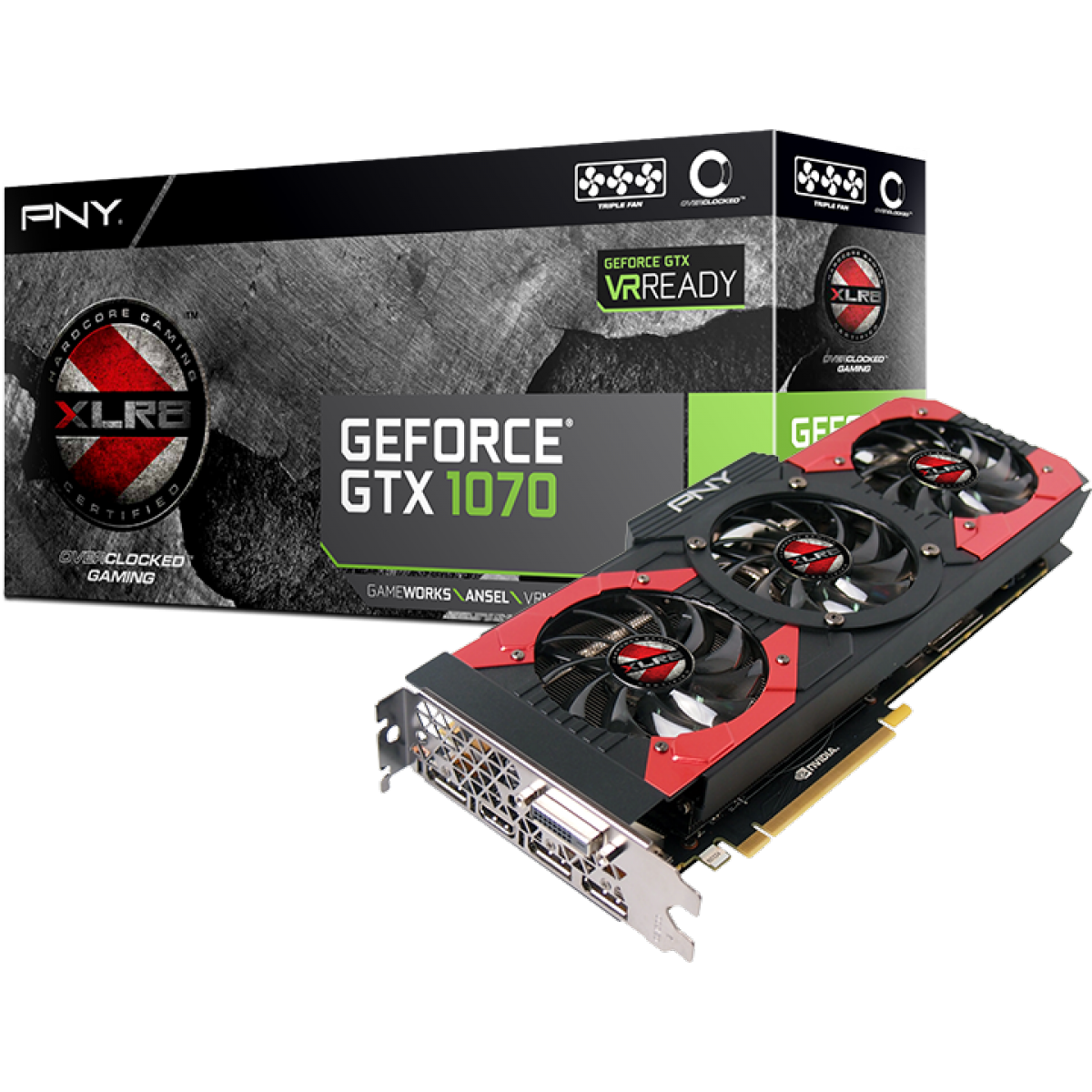 Placa de Vídeo PNY GeForce GTX 1070 8GB GDDR5 VCGGTX10708XGPB-OC PCI-EXP