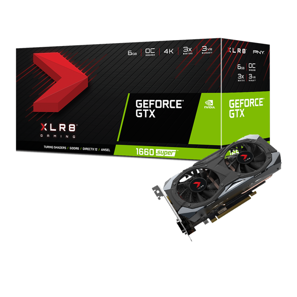Placa de Vídeo PNY, GeForce, GTX 1660 Super XLR8 Gaming Overclocked, 6GB, GDDR6, 192bit, VCG16606SDFMPB-O