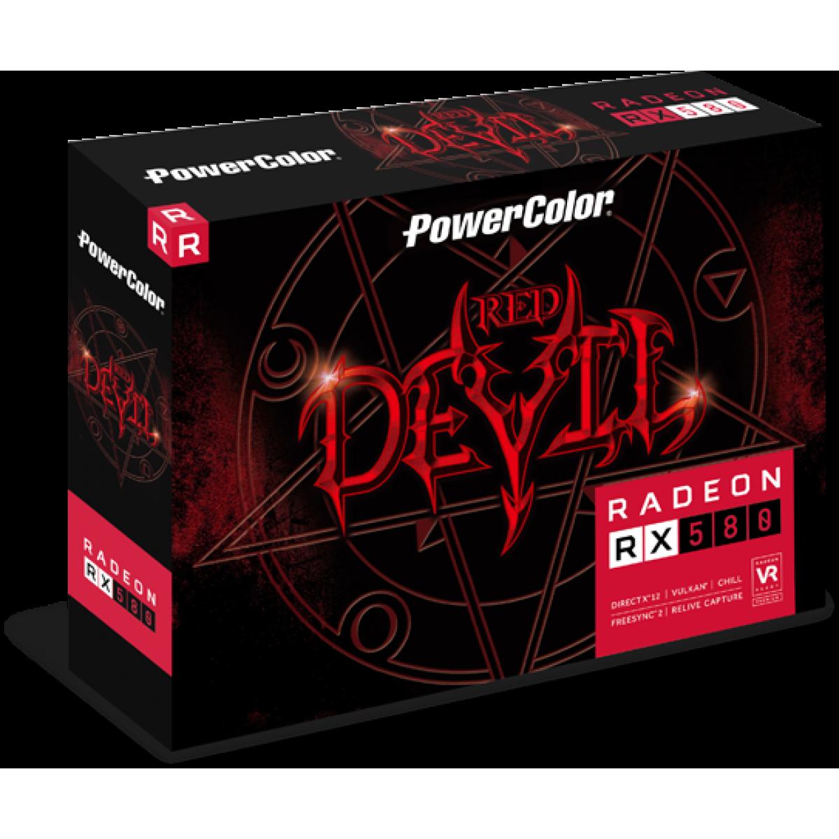Placa de Vídeo PowerColor, Radeon, RX 580 Red Devil, Dual, 8GB, GDDR5, 256Bit, AXRX 580 8GBD5-3DH/OC