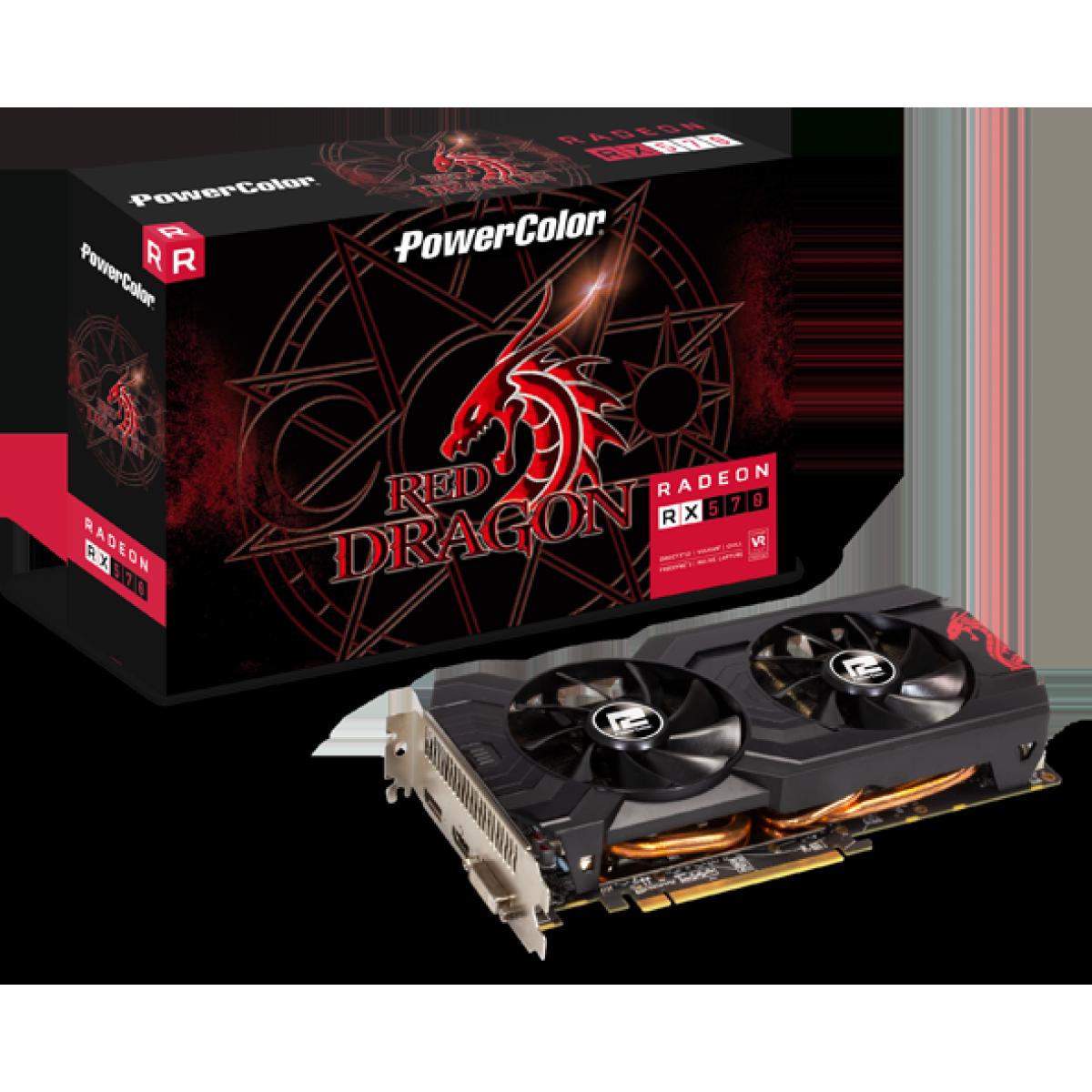 Placa de Vídeo PowerColor, Radeon, RX 570 Red Dragon Dual, 4GB GDDR5, 256Bit, AXRX 570 4GBD5-DHDV3/OC
