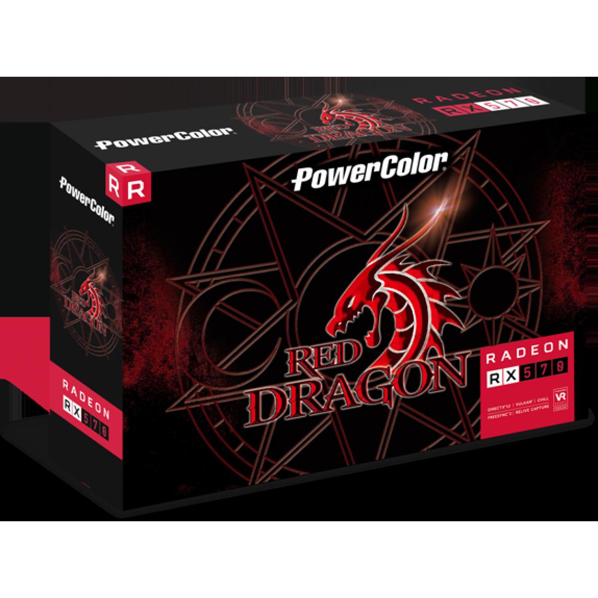 Placa de Vídeo PowerColor Radeon RX 570 Red Dragon Dual, 4GB GDDR5, 256Bit, AXRX 570 4GBD5-DHDV3/OC - Open Box