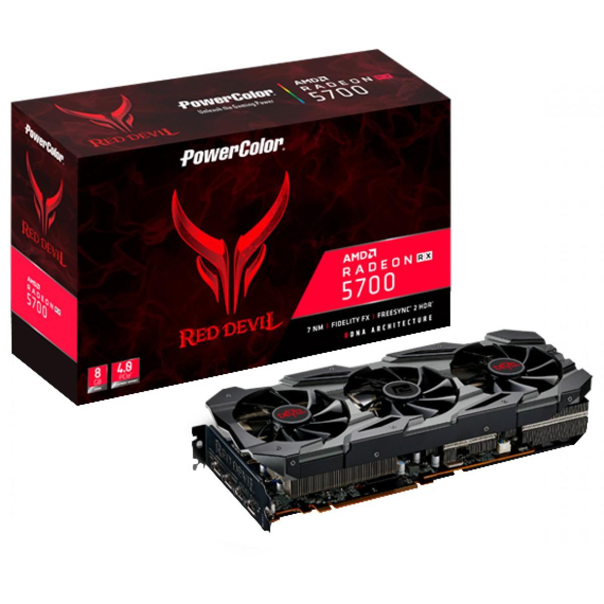 Placa de Vídeo PowerColor Radeon Navi RX 5700 Red Devil, 8GB GDDR6, 256Bit, AXRX 5700 8GBD6-3DHE/OC - Open Box