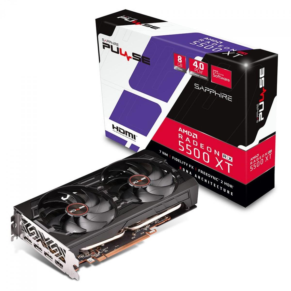 Placa de Vídeo Sapphire Radeon RX 5500 XT, 8GB GDDR6, 128BIT, 11295-01-20G