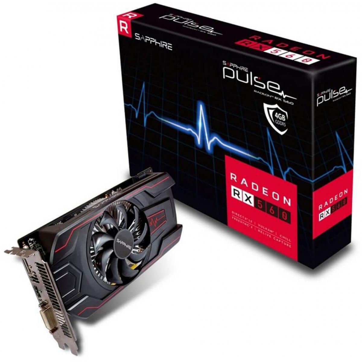 Placa de Vídeo Sapphire Radeon RX 560 Pulse, 4GB GDDR5, 128Bit, 11267-18-20G