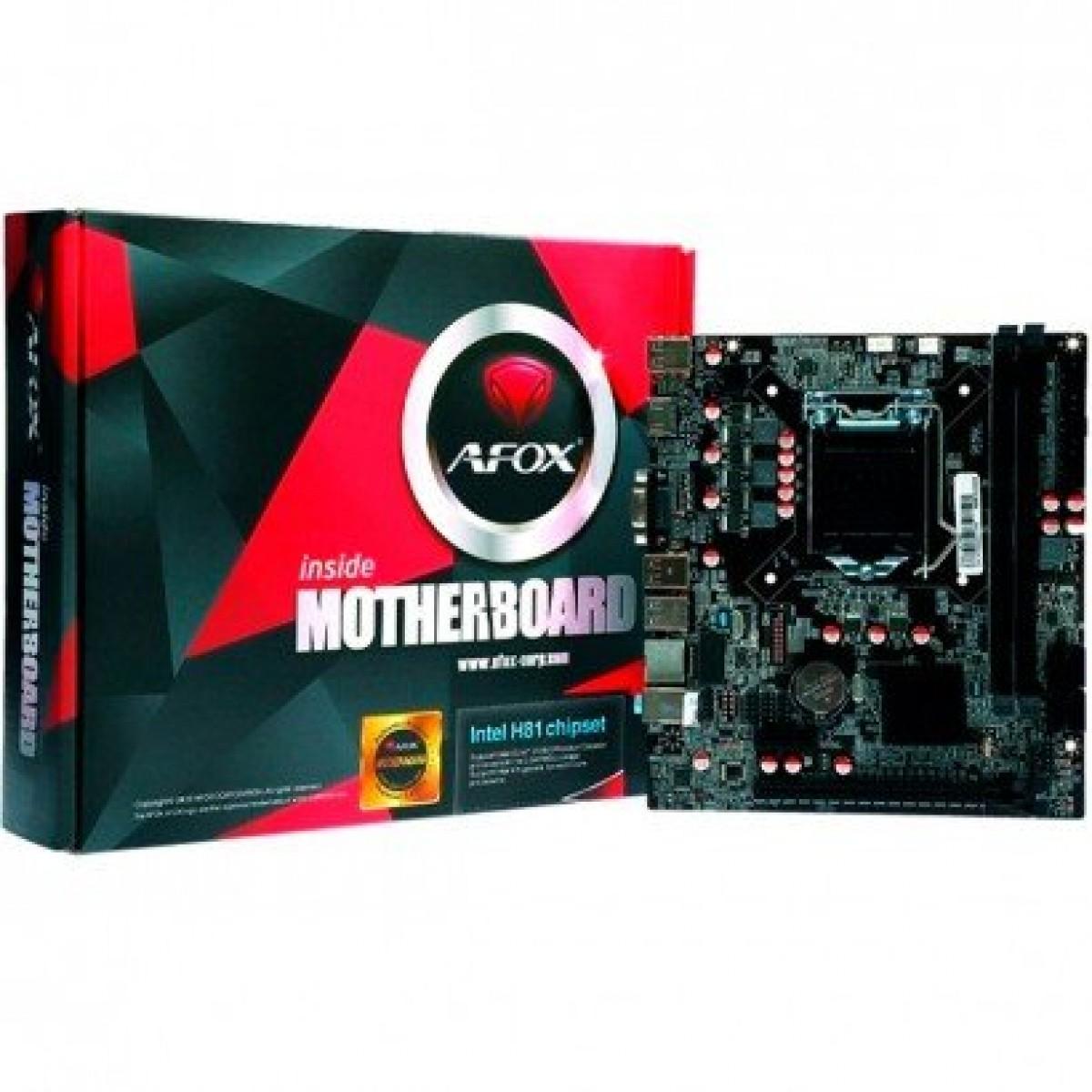 Placa Mãe Afox IH81-MA6 Chipset H81, Intel LGA 1150, mATX, DDR3