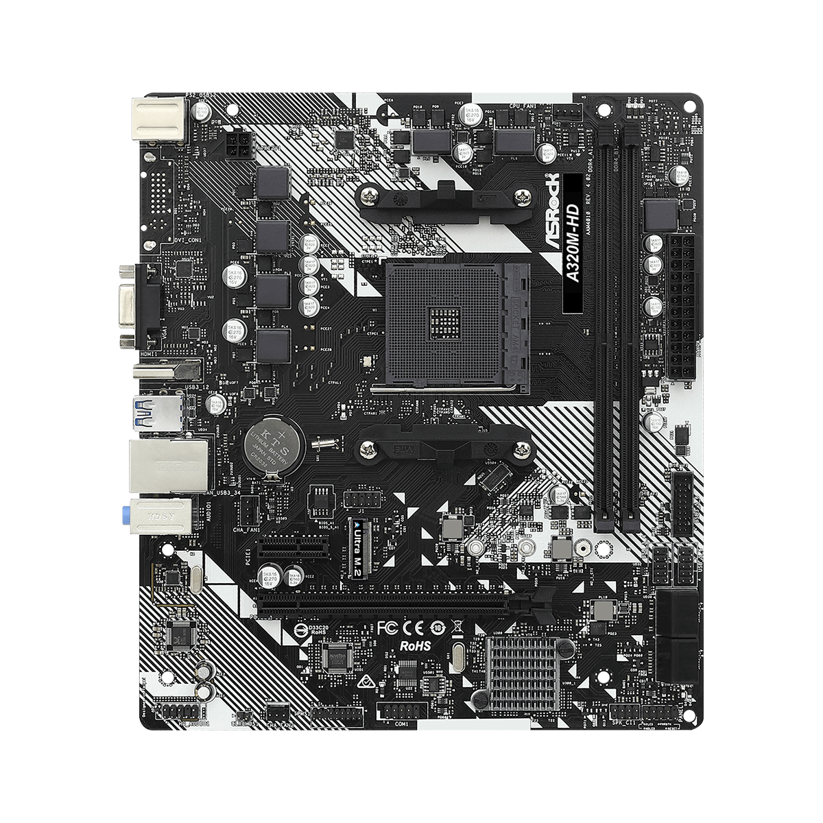 Placa Mãe ASRock A320M-HD R4.0, Chipset A320, AMD AM4, mATX, DDR4