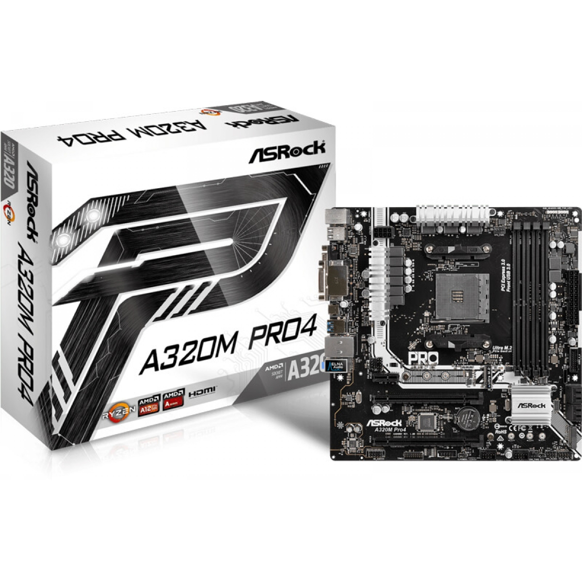 Placa Mãe ASRock A320M Pro4, Chipset A320, AMD AM4, mATX, DDR4