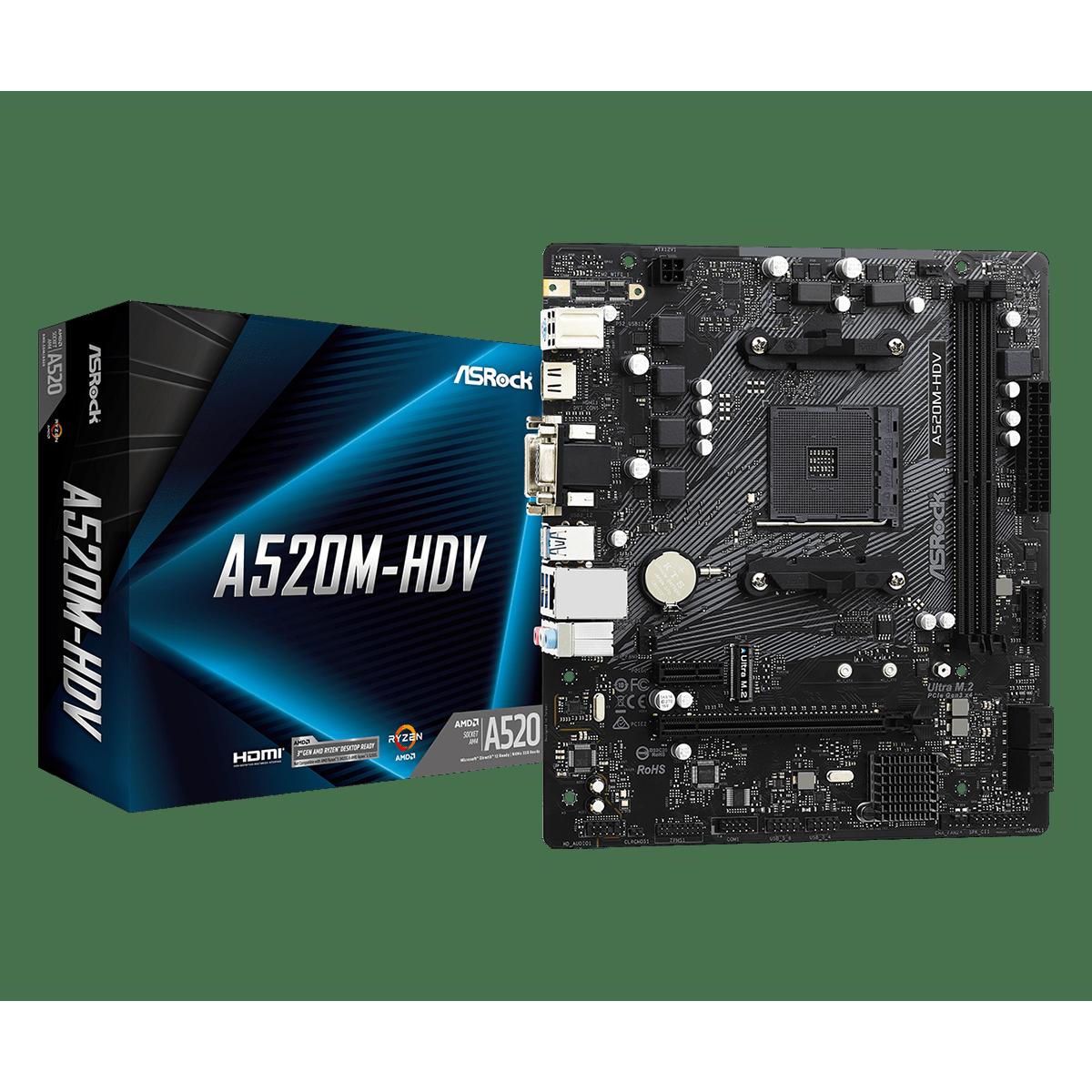 Placa Mãe AsRock A520M-HDV, A520, AMD AM4, mATX, DDR4