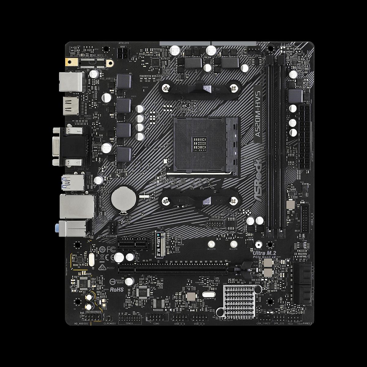 Placa Mãe AsRock A520M-HVS, A520, AMD AM4, mATX, DDR4, 90-MXBE60-A0UAYZ