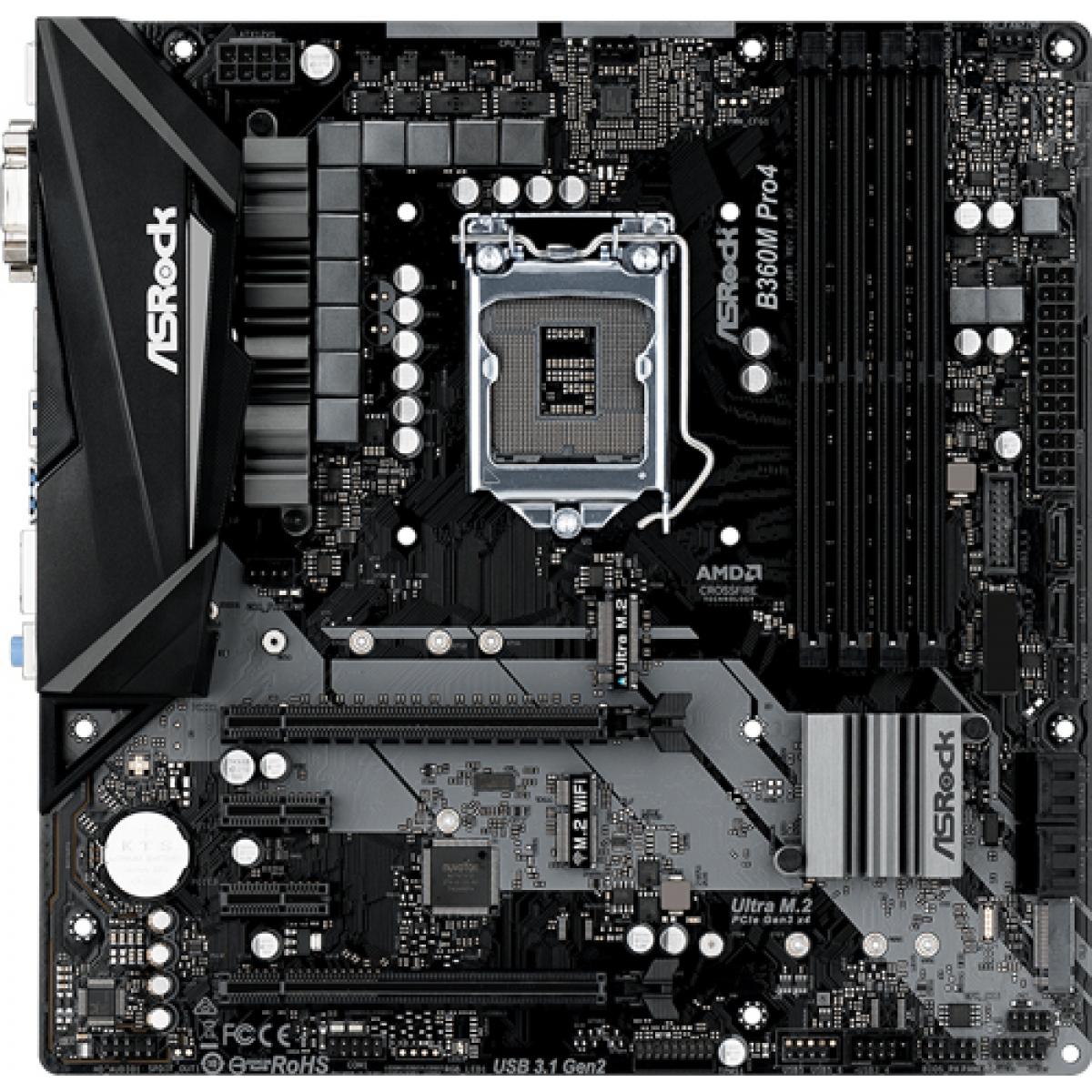 Placa Mãe ASRock B360M Pro4, Chipset B360, Intel LGA 1151, mATX, DDR4