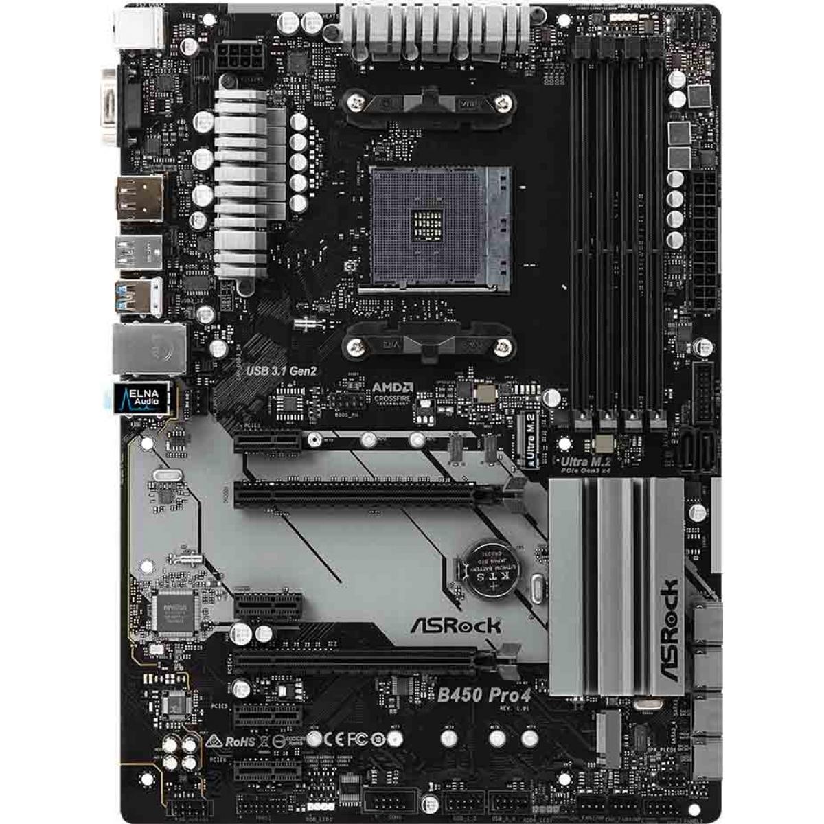 Placa Mãe ASRock B450 PRO4, Chipset B450, AMD AM4, ATX, DDR4