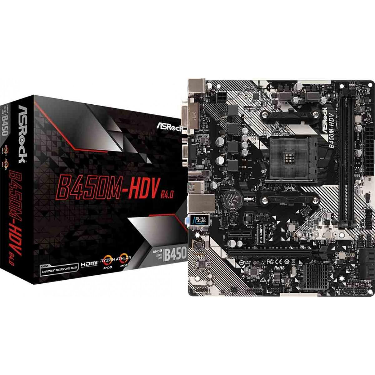 Placa Mãe ASRock B450M-HDV R4.0, Chipset B450, AMD AM4, mATX, DDR4
