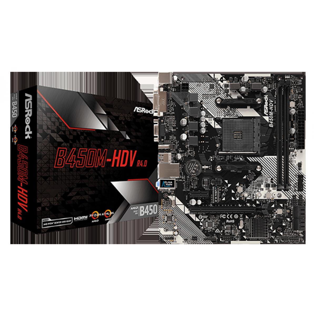 Placa Mãe ASRock B450M-HDV, Chipset B450, AMD AM4, mATX, DDR4