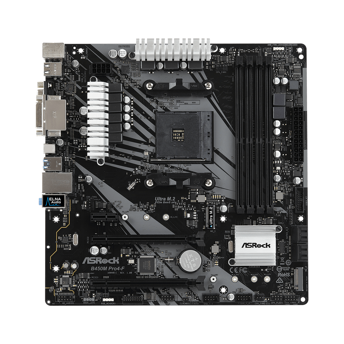 Placa Mãe ASRock B450M PRO4F, Chipset B450, AMD AM4, mATX, DDR4 - Open Box