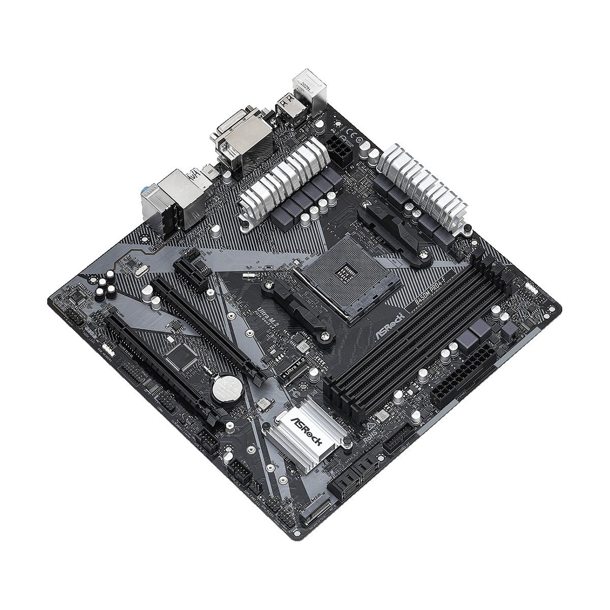 Placa Mãe ASRock B450M PRO4F R2.0, Chipset B450, AMD AM4, mATX, DDR4