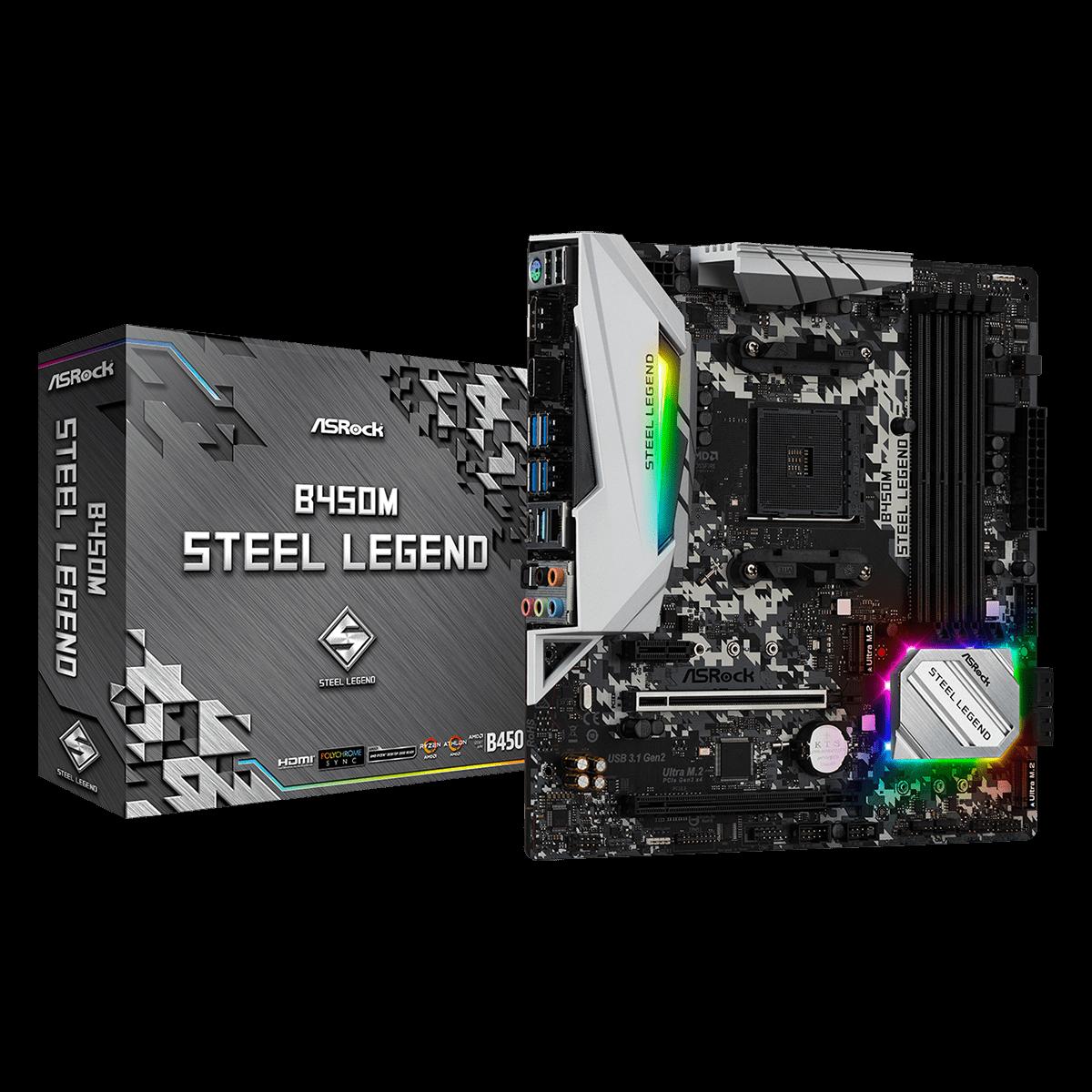 Placa Mãe ASRock B450M Steel Legend, Chipset B450, AMD AM4, mATX, DDR4