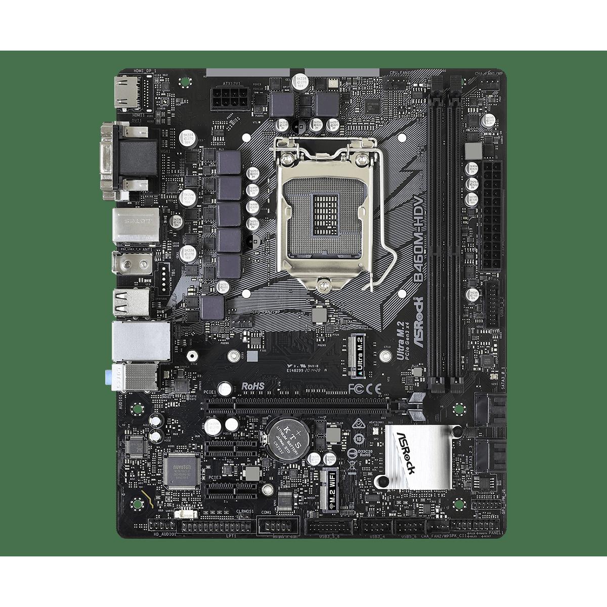 Placa Mãe AsRock B460M-HDV, Chipset B460M, Intel LGA 1200, mATX, DDR4, 90-MXBD30-A0UAYZ - Open Box