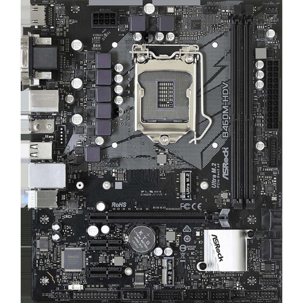 Placa Mãe AsRock B460M-HDV, Chipset B460M, Intel LGA 1200, mATX, DDR4, 90-MXBD30-A0UAYZ