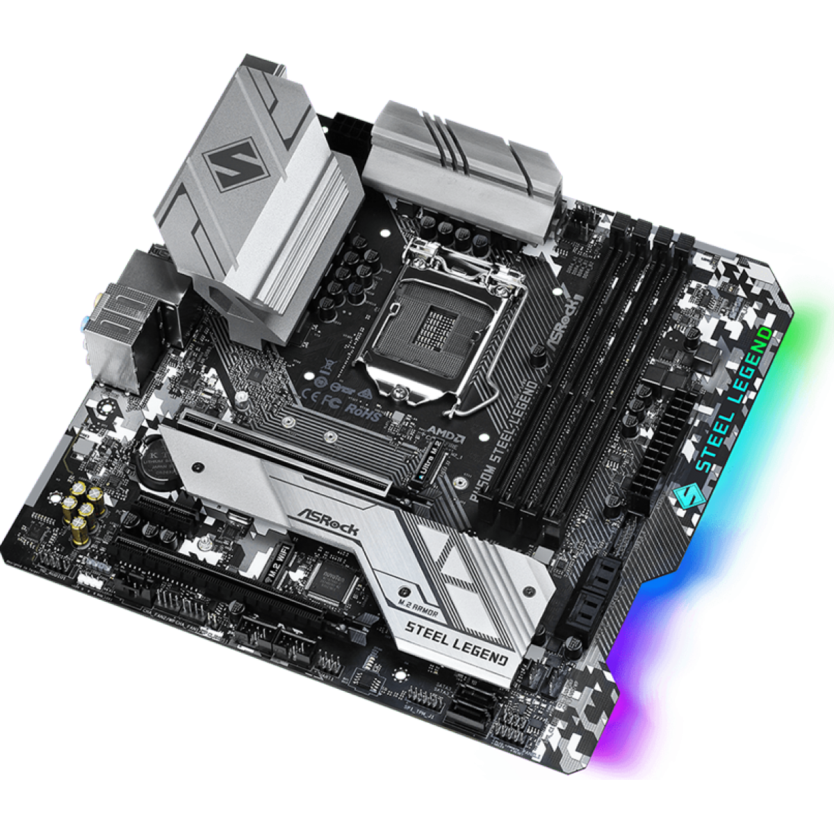 Placa Mãe AsRock B460M Steel Legend,Chipset B460M, Intel LGA 1200, mATX, DDR4